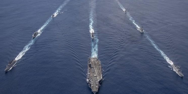 رزمایش کشتی های جنگی هند با ناو گروه آمریکایی در اقیانوس هند